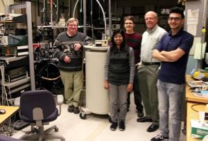 Leigh Smith, Nadeeka Wickramasuriya, Sam Linser, Howard Jackson and Iraj Abbasian in their UC physics lab. Photo by Melanie Schefft