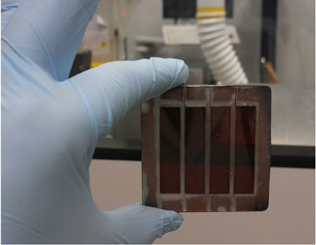A typical semi-transparent nanorods perovskite solar module developed in research work. (Image: Courtesy of the authors)