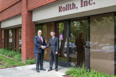 George Palikaras, Founder and CEO of MTI (left) shaking hands with Boris Kobrin, Founder and CEO Rolith Inc.