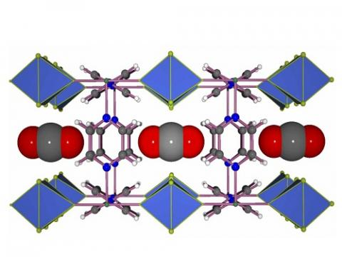 Carbon dioxide molecules (gray and red) fit neatly into the channels of the MOF. © 2016 KAUST