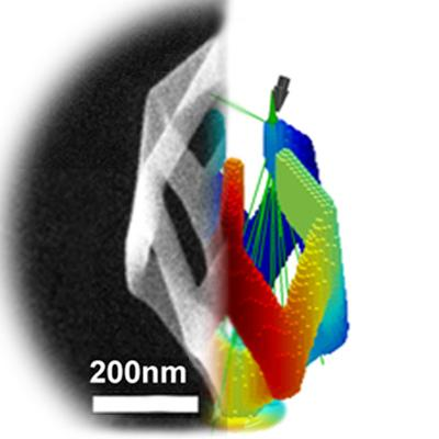 This 3-D structure was created in a microscope. On the left is the structure; on the right is the simulation that shows how to create such a structure.