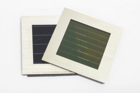 The two thin-film modules of the highly efficient stack: CIGS below, perovskite on top.